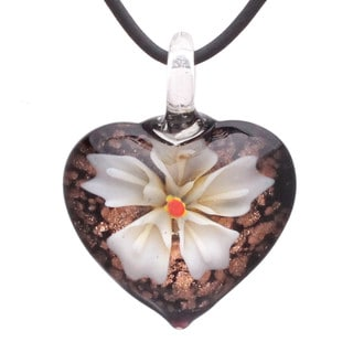 Handcrafted Italian Murano-style Glass Ivory White Orchid Flower Heart Pendant Necklace