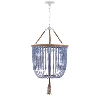 Safavieh Lighting 18-Inch Adjustable Beaded 3-Light Angie Blue Pendant Lamp