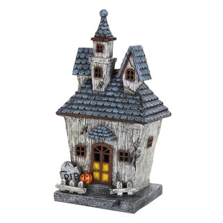 Exhart Grey Resin Hand-painted Haunted Halloween House with Timer