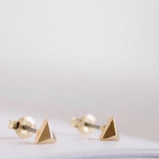 LilahV 18k Gold Plated Pyramid Stud Earrings