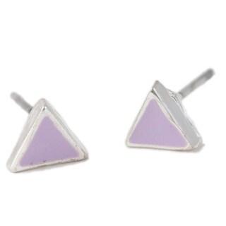 LilahV Silver-Plated Purple Triangle Stud Earrings