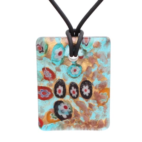 Handcrafted Italian Murano-style Glass Turquoise Blue Millefiori Rectangle Pendant Necklace