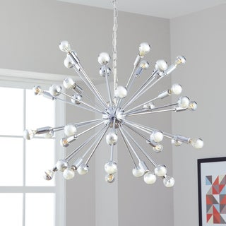 Safavieh Lighting 31-Inch Adjustable 20-Light Starburst Sputnik Chrome Pendant Lamp