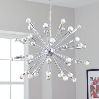 Safavieh Lighting 31-Inch Adjustable 20-Light Starburst Sputnik Chrome Pendant Lamp