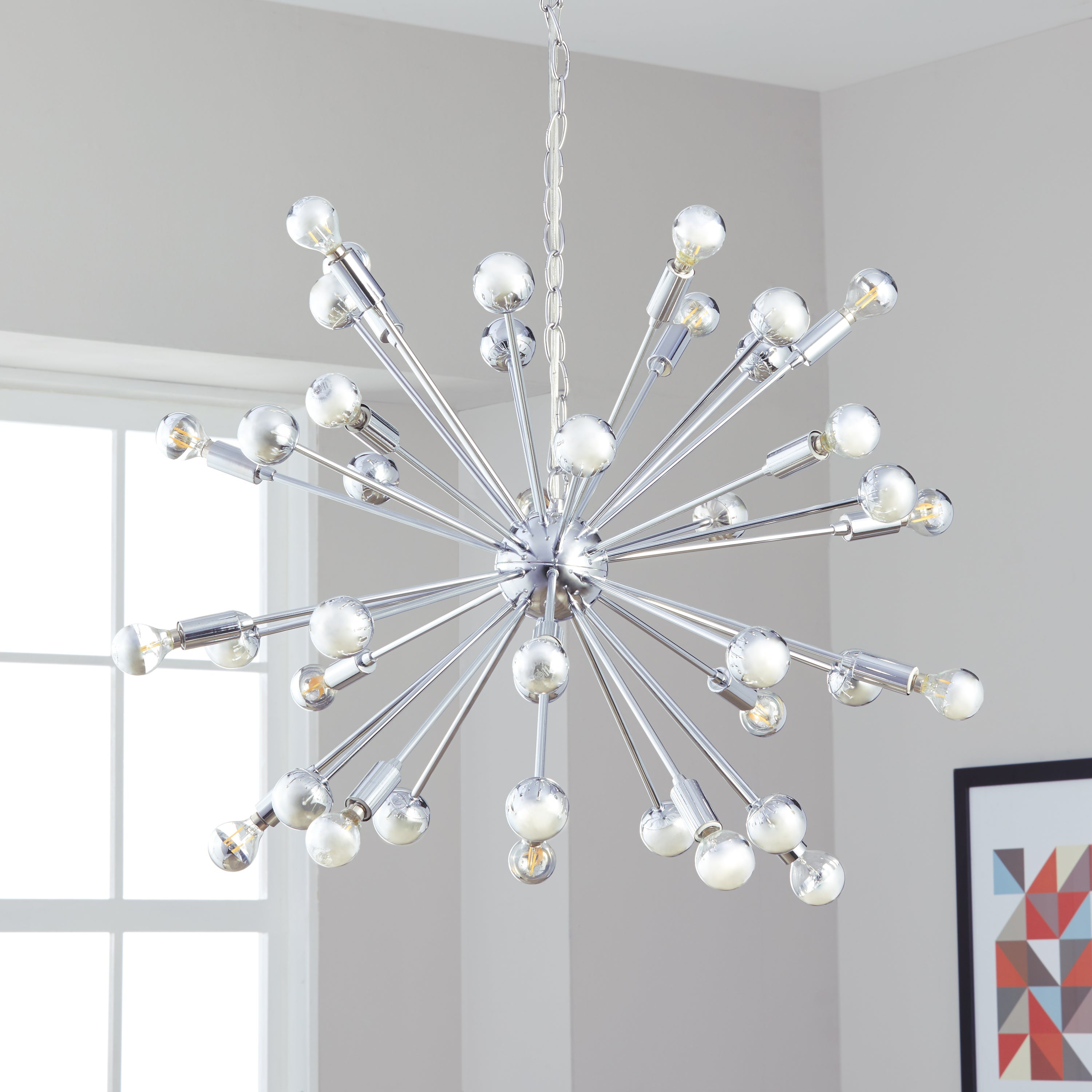 Safavieh Lighting Starburst Sputnik 20 Light Chrome Adjule Pendant Lamp