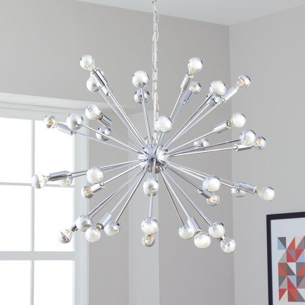 Safavieh Lighting 31-inch Starburst Sputnik 20-light Chrome Adjustable Pendant Lamp