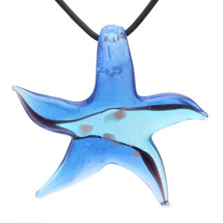 Handcrafted Italian Murano-style Glass Ocean Blue Star Fish Pendant