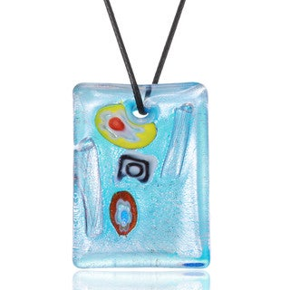 Handcrafted Italian Murano-style Glass Aqua Blue Art Deco Rectangle Pendant Necklace