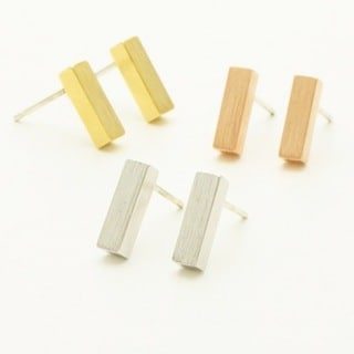 LilahV Simple Classic Gold or Silver Bar Earrings.