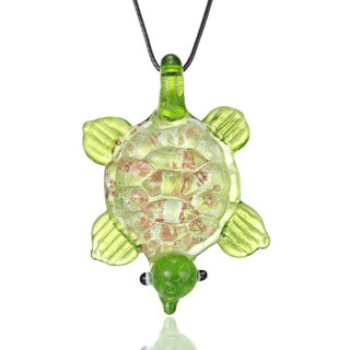 Handcrafted Italian Murano-style Glass Mint Green Turtle Pendant