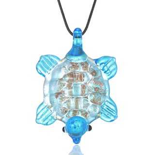 Handcrafted Italian Murano-style Glass Aqua Blue Turtle Pendant