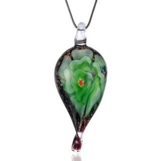 Handcrafted Italian Murano-style Glass Green Carnation Twisted Teardrop Pendant