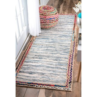 nuLOOM Handmade Braided Denim Rag Light Blue Runner Rug (2'6 x 8')