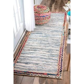 nuLOOM Handmade Braided Denim Rag Light Blue Runner Rug - 2'6 x 8'