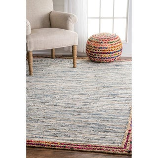 nuLOOM Handmade Braided Denim Rag Light Blue Rug (5' x 8')