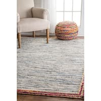 nuLOOM Handmade Braided Denim Rag Light Blue Rug (7'6 x 9'6)