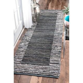 nuLOOM Handmade Leather Cotton Grey Runner Rug (2'6 x 8')