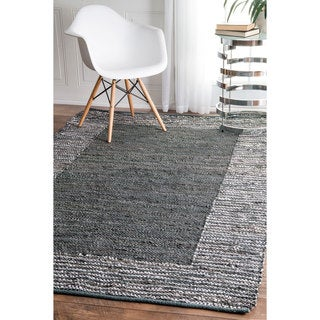 nuLOOM Handmade Leather Cotton Grey Rug (3' x 5')