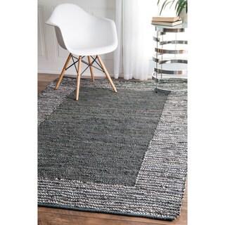 nuLOOM Handmade Leather Cotton Grey Rug (3' x 5')