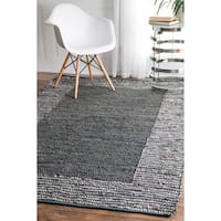 nuLOOM Handmade Leather Cotton Grey Rug - 7'6 x 9'6