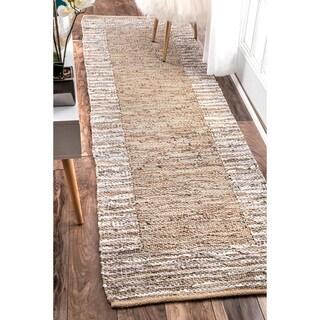 nuLOOM Handmade Leather Cotton Beige Runner Rug (2'6 x 8')