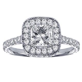 Platinum 1 3/4ct TDW Pave-set Diamond Encrusted Princess-cut Engagement Ring (G-H, SI1-SI2)