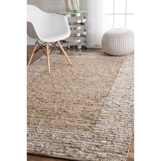 The Curated Nomad Sallah Handmade Leather Cotton Beige Area Rug - 5' x 8'