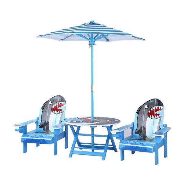 O'Kids Multicolor Wood Shark Adirondack Table and Chairs Set