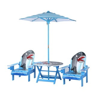 Ou0027Kids Multicolor Wood Shark Adirondack Table And Chairs Set