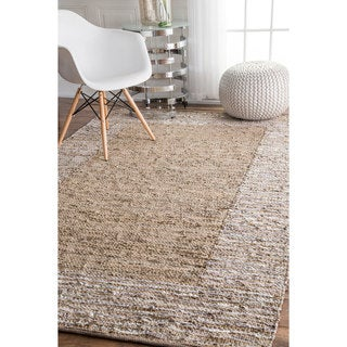 nuLOOM Handmade Leather Cotton Beige Rug (7'6 x 9'6)