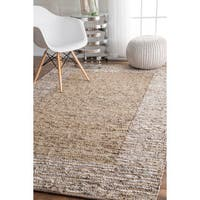 """The Curated Nomad Sallah Handmade Leather Cotton Beige Area Rug - 7'6"""" x 9'6"""""""
