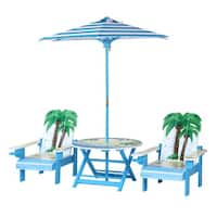 O'Kids Palm Tree Adirondack Table and Chairs Set