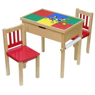 O'Kids All-In-Fun Multicolored 6-in-1 Multi-function Flip-top Table and Chairs Set