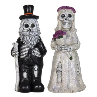 Resin 12-inch Married Skeleton Gnome Couple (Set of 2)