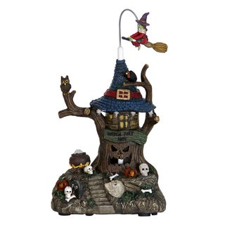 Scary Face Treehouse Garden Statue with Flying Witch and Automatic Timer