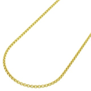 14k Yellow Gold 1.5 mm Round Box Link Necklace Chain