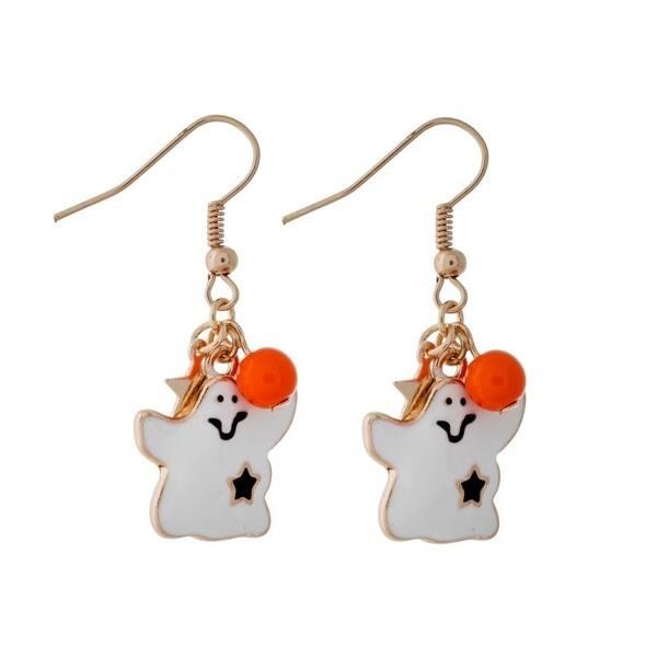 Halloween Ghost and Pumpkin Dangle Earrings