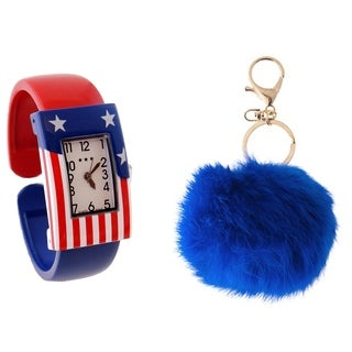 Women's American Flag  Gift Set, with Rectangular Easy Read Dial Watch with Cuff Strap, and Faux Rabbit Fur Key Chain