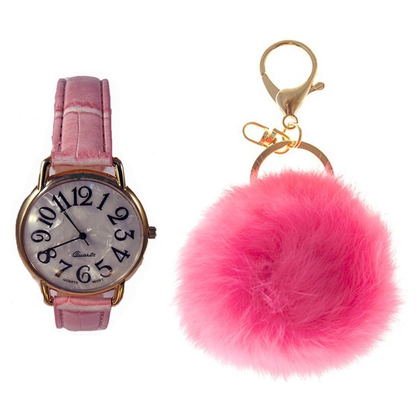 Shop Women s Pink Watch and Key Chain - Ships To Canada - Overstock ... 116f66f728