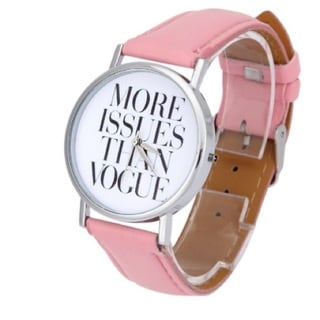 Women's More Issues then Vogue Watch Pink Faux Leather Band Silver Case