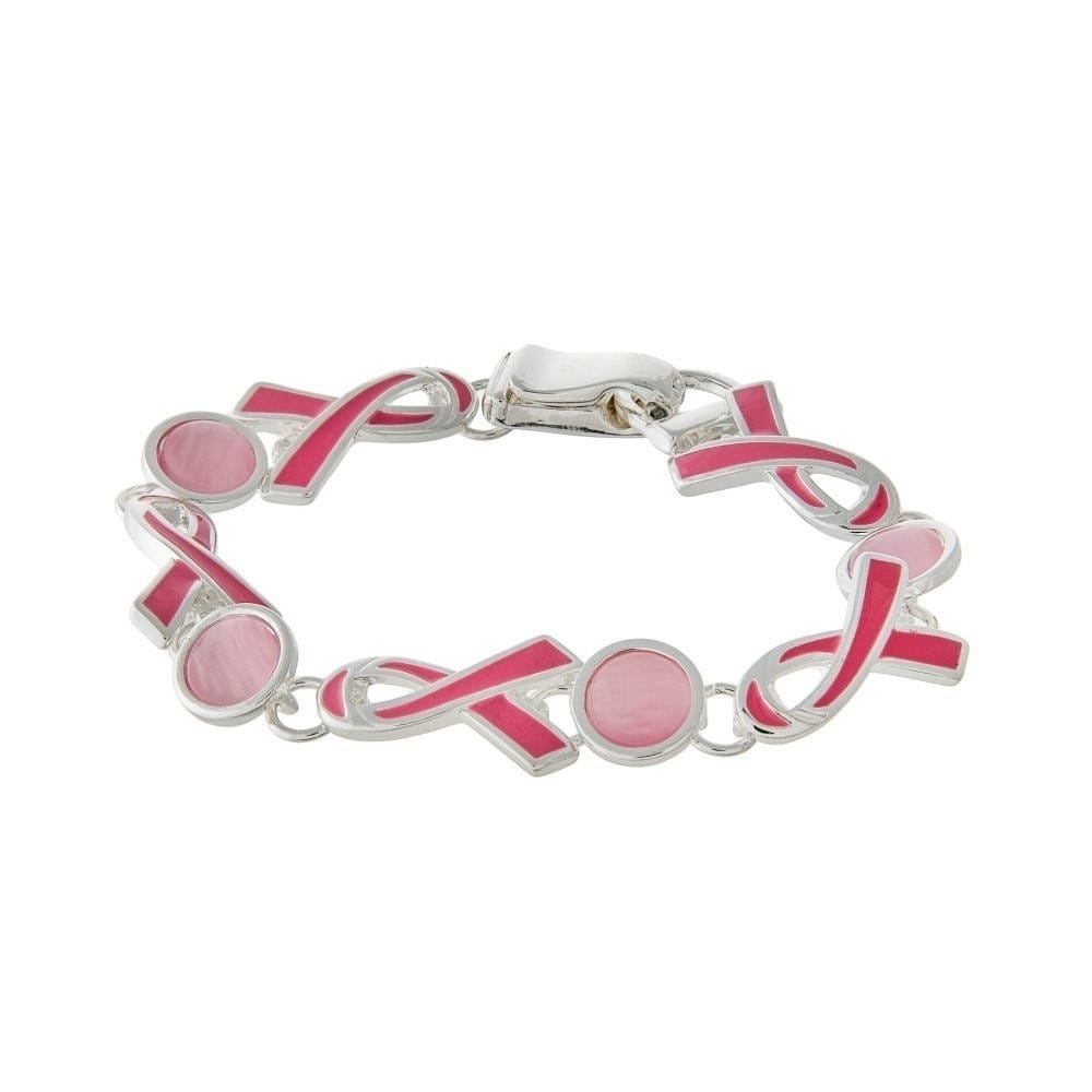 Pink Ribbon Enamel Breast Cancer Awareness Bracelet (Char...