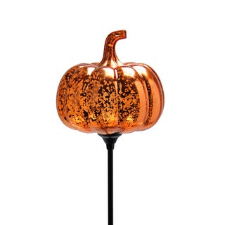 Exhart Plastic Solar Pumpkin Stake with Antique Finish