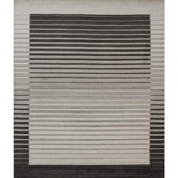 Pacific Rugs Urban Grey/Ivory New Zealand Wool/Viscose Blend - 5' x 8'