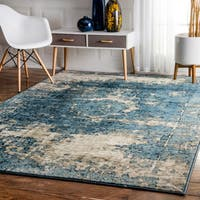 Maison Rouge Elaine Traditional Vintage Fancy Blue Square Rug  - 8'
