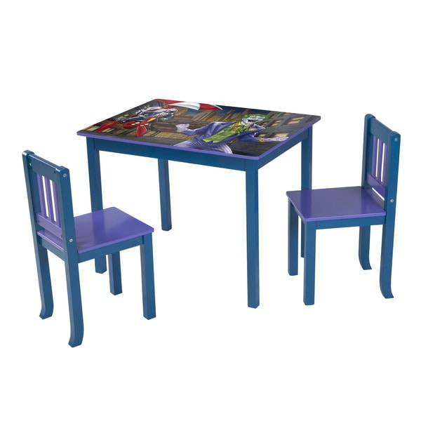 Fantastic Okids Batman Joker And Penguin Multicolor Wood Large Table And Chairs Set Blue Machost Co Dining Chair Design Ideas Machostcouk
