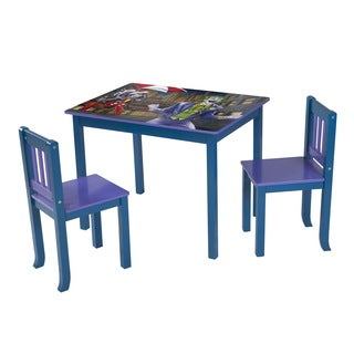 O'Kids Batman, Joker, and Penguin Multicolor Wood Large Table and Chairs Set - Blue