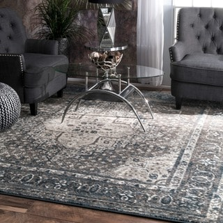 nuLOOM Traditional Vintage Fancy Blue Rug (8' Square)