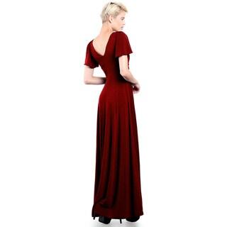 Evanese Women's Elegant Slip-on Long Formal Evening Party Dress with Empire Waist Full Skirt and Short Sleeves