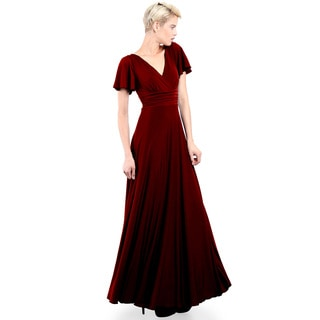 Evanese Women's Elegant Slip-on Long Formal Evening Party Dress with Empire Waist Full Skirt and Short Sleeves