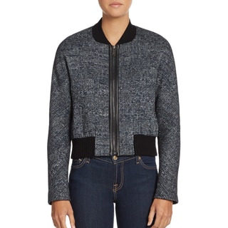Elie Tahari Women's Mackenzie Black Polyester Tweed Bomber Jacket